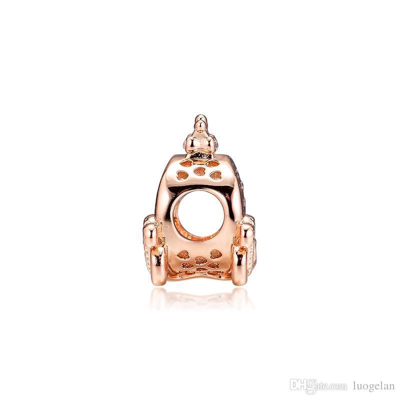 2019 Original 925 Bijoux En Argent Sterling Couronne Voiture Rose Perles Convient Pandora charme Bracelets Collier pour Femmes