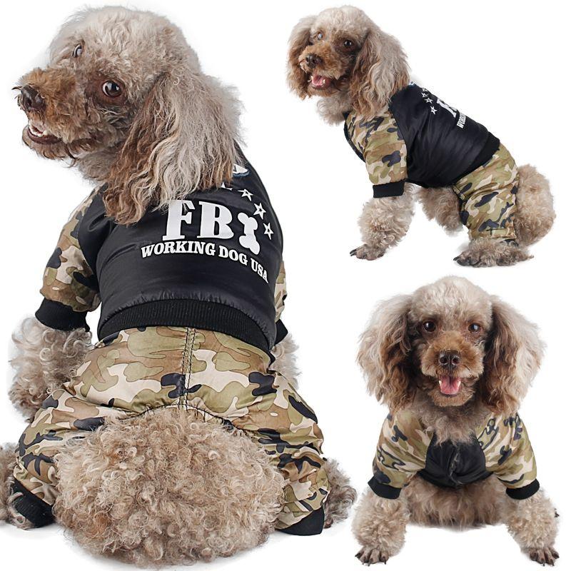585507e22a8e0 Compre Ropa Para Perros Mascotas Traje De Moda Brillante Camuflaje Ropa Para  Perros De Invierno Cálido Impermeable Fbi Impresión Abrigo Chaqueta Ropa  Para ...