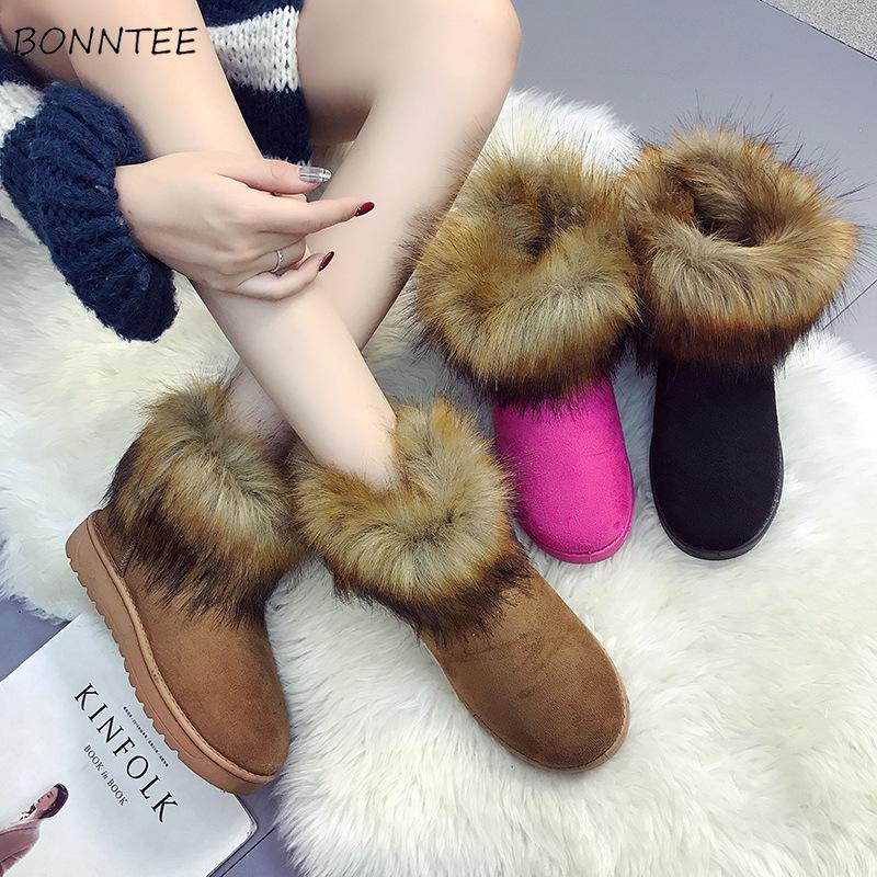Boots Women Faux Fur Kawaii 2018 Snow Boot High Quality Fashion Flock Warm  Thicker Plush Rubber Shoes Womens Solid Casual Ankle Hiking Boots Shoes For  Women ... 05fefd3d55