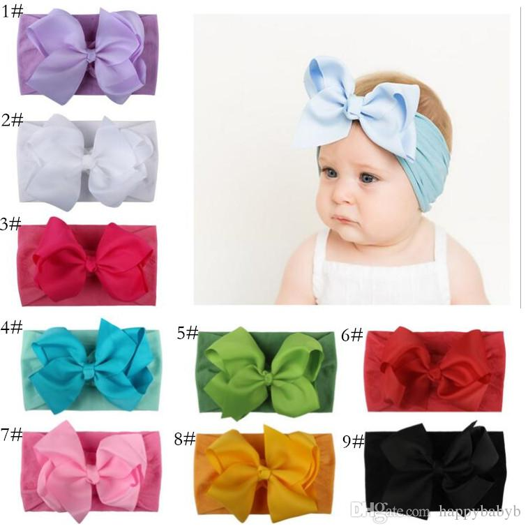 bdd6ff83b Big Bows Nylon Headbands Baby Girls Soft Elastic Nylon Head Bands Candy  Colors Knot Bow Turban Head Wraps Hair Bands Hair Accessories For Teenagers  Make ...