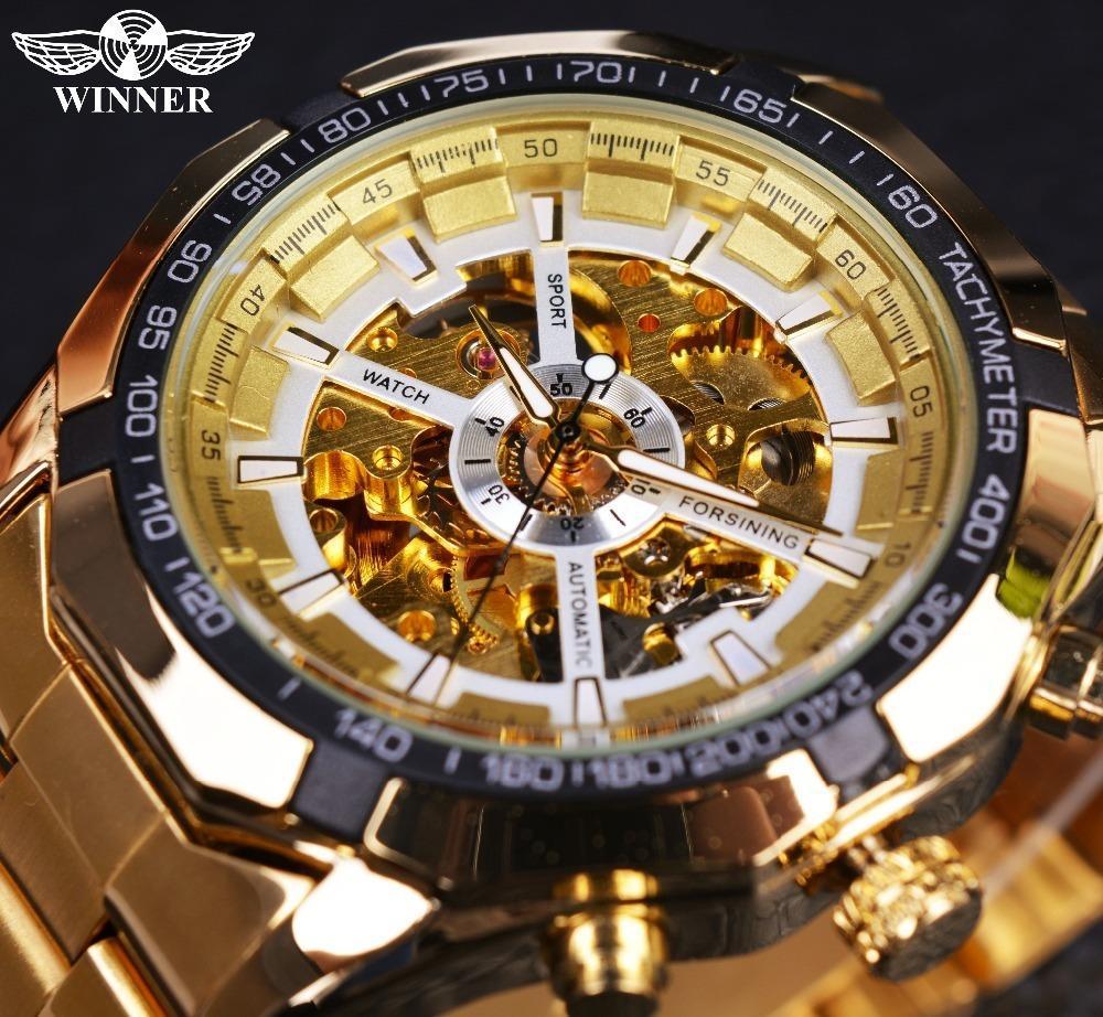 e19f347487c Compre Vencedor Clássico Transparente Completa Mens Dourado Relógios Top  Marca De Luxo Homens Esporte Relógio Automático Esqueleto Relógio Relógio  De Pulso ...