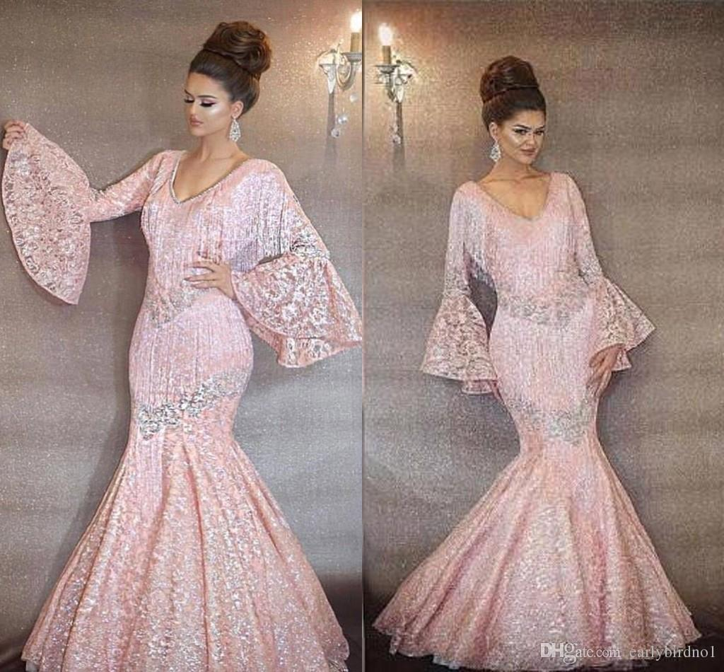 225e2fb250 2019 Pink Lace Prom Dresses Vintage Sheer Tassel Dubai Mermaid Sweep Train Luxury  V Neck Party Evening Gowns Formal Dresses Plus Size BC0553 Cheap Formal ...