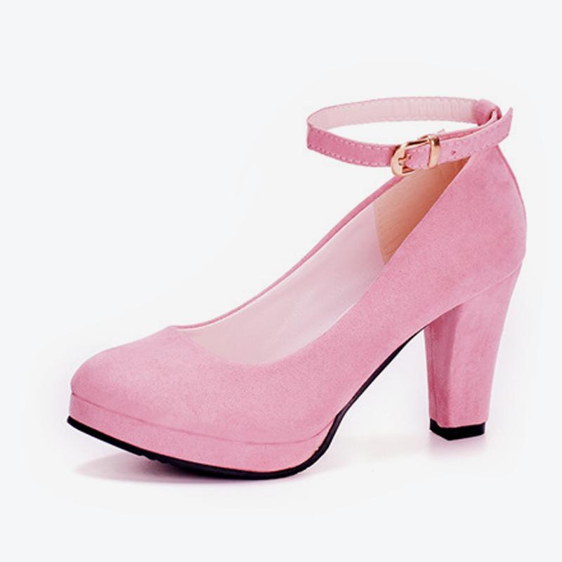 12a913c15 Compre Designer De Sapatos De Vestido 2019 Mulheres Outono Rebanho Fivela De  Salto Grosso Bombas De Correia Feminina Escritório Carreira Bombas Senhoras  ...