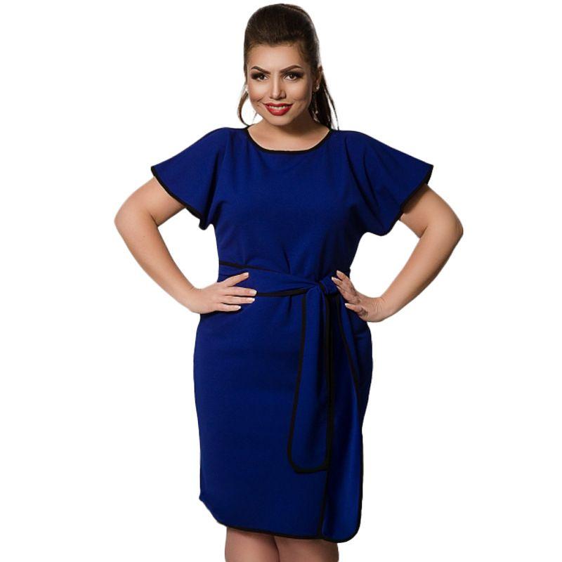 Plus Size 6XL Casual Summer Dresses Women Patchwork Short Sleeve Elegant  Party Dress Loose Round Neck Knee-Length Bodycon Dress