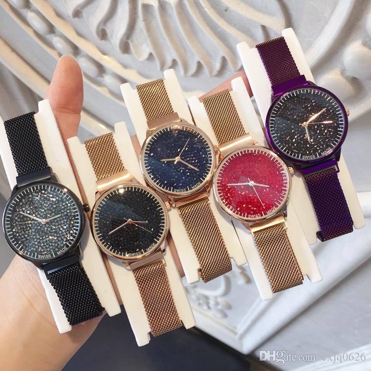 2d94ed2788ad Compre Relojes De Marca Mujer Marca Moda Relojes Para Mujer Marca De  Diamantes Intermitentes Marca Milán Cinturón De Lujo Reloj De Señora  Clásico De Imán De ...