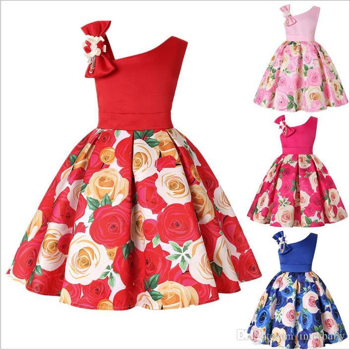 6653dda93d70 Acquista Vestiti Del Bambino Vestiti Delle Ragazze Vestito Da Sera Da Sera Vestito  Da Partito Vestito Da Prua Della Principessa Stampa Di Moda Vestito ...