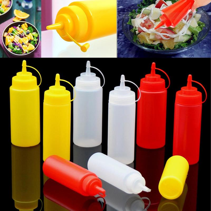 Kitchen Plastic Squeeze Bottle BBQ Ketchup Condiment Dispenser for Sauce Vinegar Oil Ketchup Gravy Cruet Container Cooking Accessories
