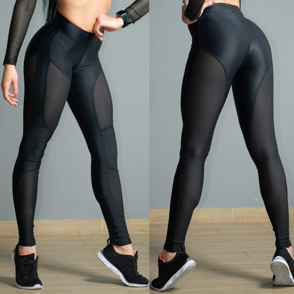 9f1aabccf84aa Women's fashion See-through Workout Leggings Fitness Sports Gym Athletic  black female pants spodnie damskie trousers