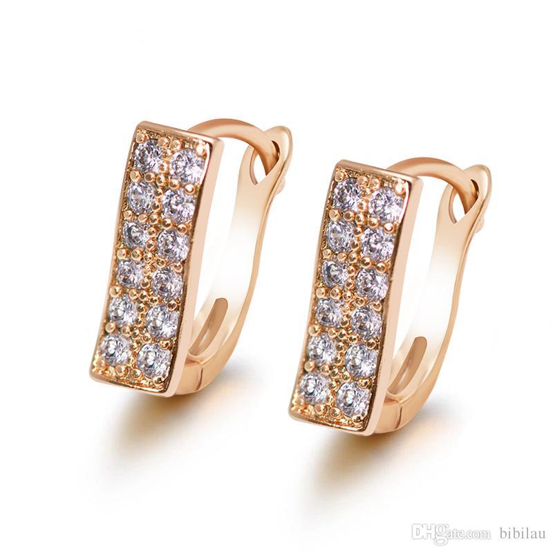 af58fd2e3 352E 18K Gold Plated Hoop Earrings For Women Cubic Zircon Fashion ...