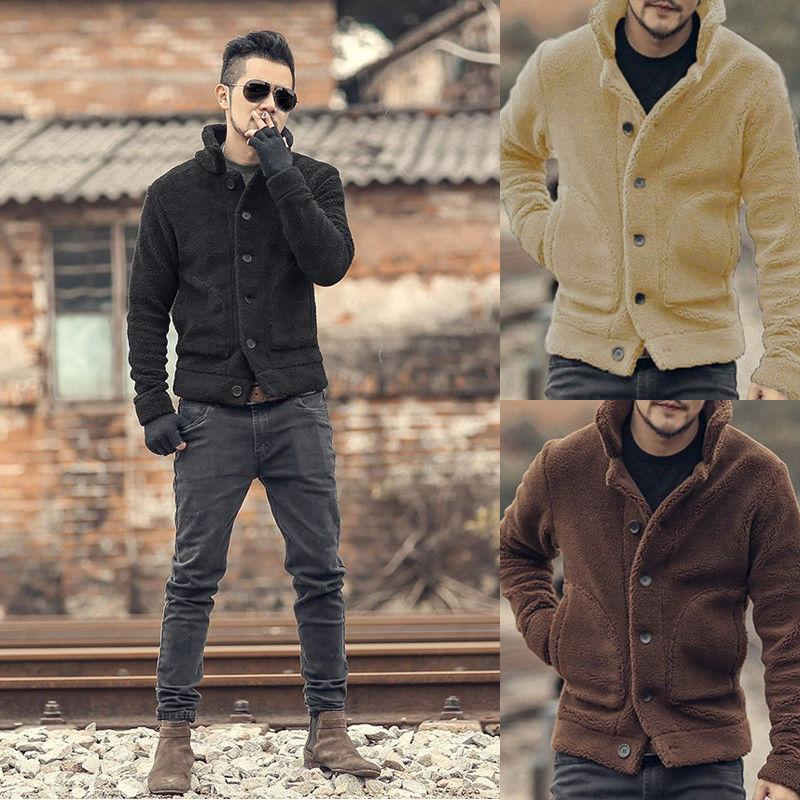 2019 Brand New Fashion Men Casual Button Fleece Coat Cardigan Button Solid  Thick Jackets With Pocket Outwear