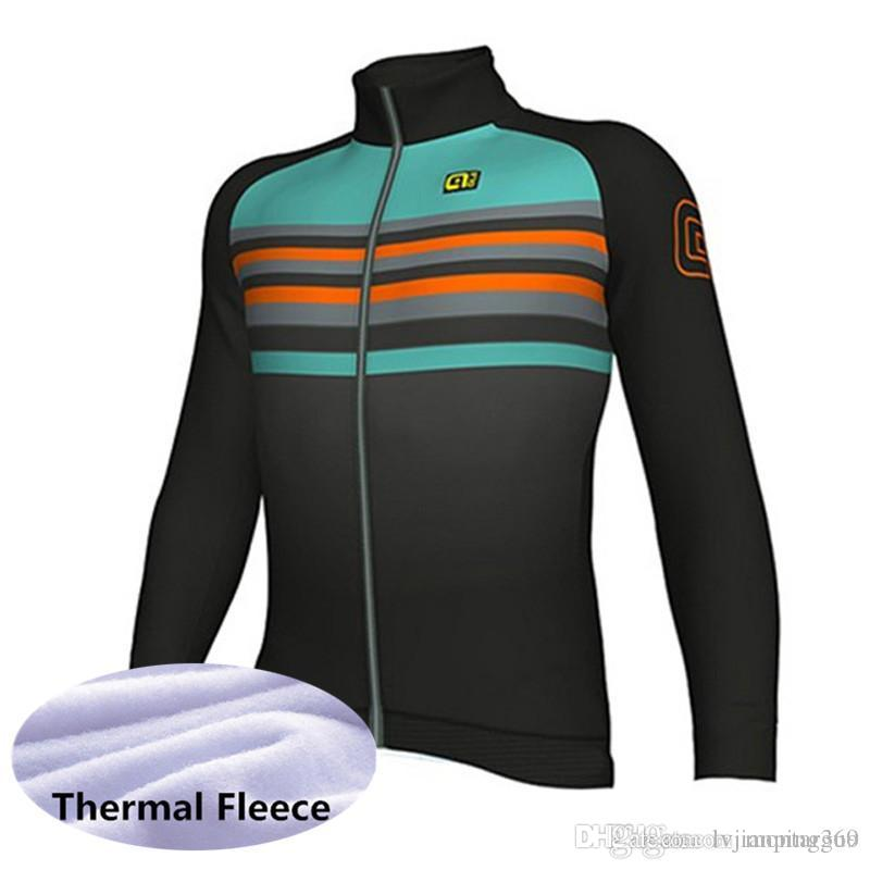 67fe72239 2019 Men Pro Team ALE Long Sleeve Cycling Jersey Spring Winter Thermal  Fleece Breathable Bicycle Clothing Quick Dry Mountain Bike Tops 2027L Womens  Shirts ...