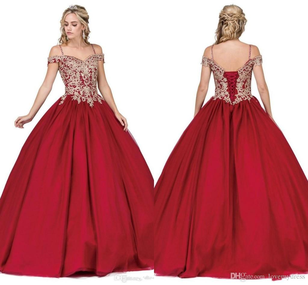 Crystal Straps Gold Lace Applique Prom Dresses Ball Gowns For Sweet 16 Girls 2019 Burgundy Beaded Corset Back Masquerade Evening Dress
