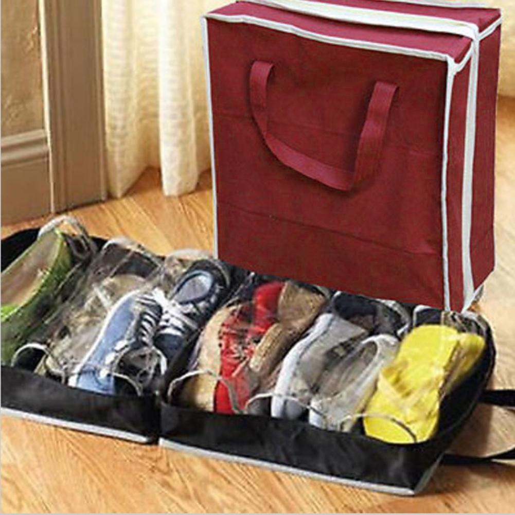Non-Woven Fabric Shoe Bag Shoes Organizer Wardrobe Closet Organizer 6 Grids Shoe Storage Bags Shoe Rack Case For Travel Home