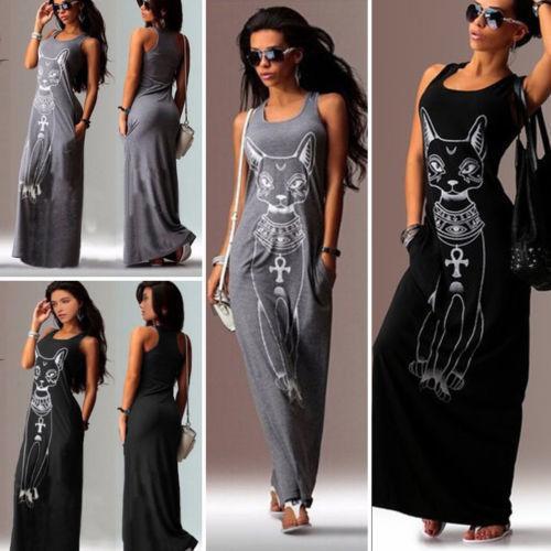 5cacef53e4 Women Summer Sexy Summer Sleeveless Dress Long Maxi Dress Cat Party Beach  Sundress Christmas Party Dresses Night Dress From Jincaile04