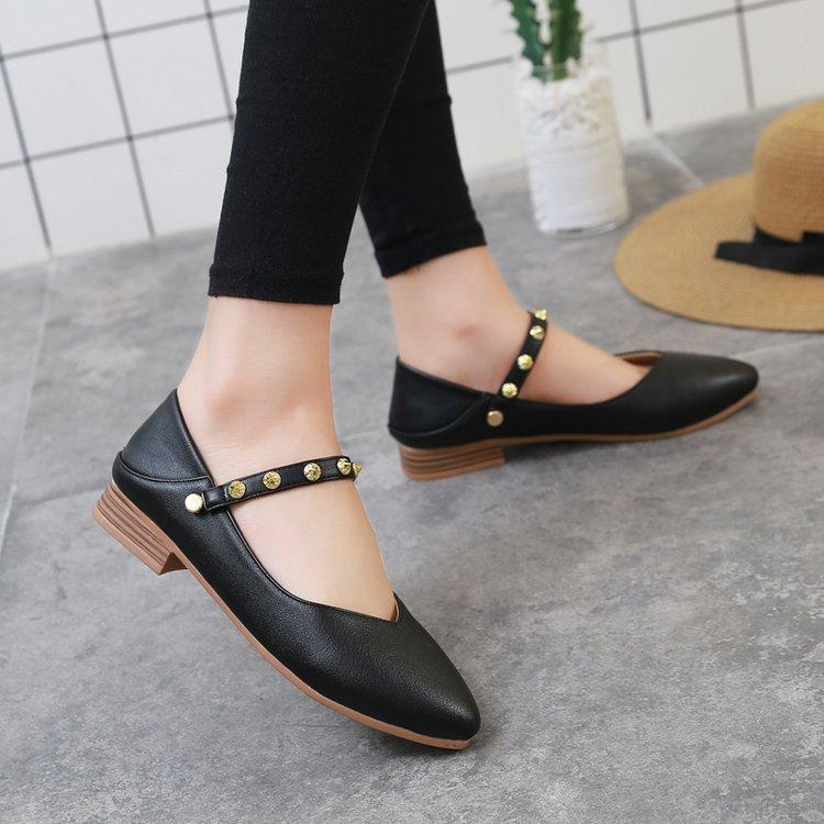 Designer Dress Shoes Mary jane spring autumn fashion pointed toe low heel pumps women sexy rivet vintage black casual ladies plus size