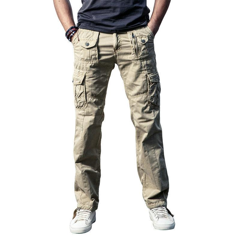 Cncool Mens Military Cargo Pants Solid Khaki Breathable Summer Large Size Multi Pocket Long Trouser Hot Spliced Pantalon Homme Q190415