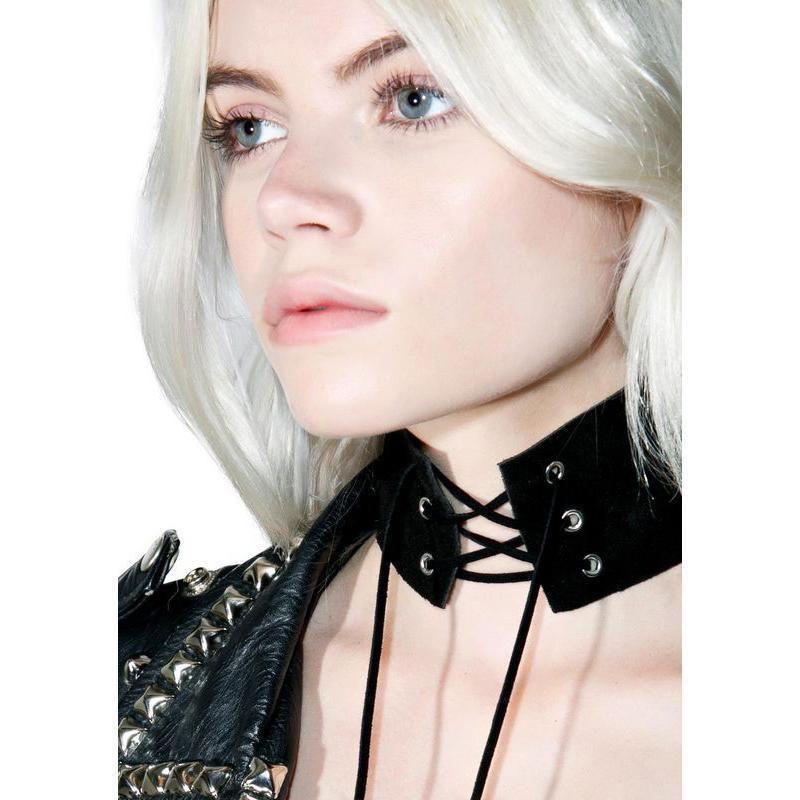 Hirigin Mulheres Moda Couro Colar Mulheres Bandage Anel Gravatas Punk Gothic Choker Vintage Colar de veludo couro