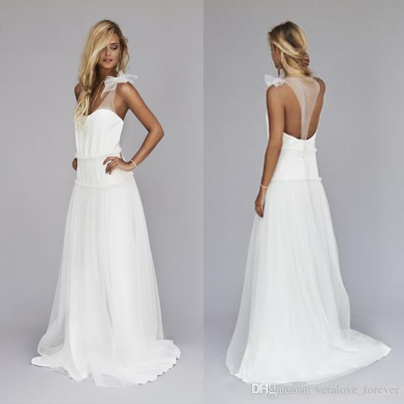 Simple Chiffon Beach Wedding Dresses Custom Made Dropped Waist Backless Long A-Line Bohemian Bridal Gowns Custom Size