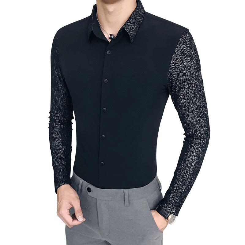 e6c7b122a 2019 Long Sleeved Men Dress Shirt Black White Slim Elegant Mens Shirts  Business Casual Shirt Men Asian Size S M L XL XXL XXXL From Jerkin, $34.95  | DHgate.