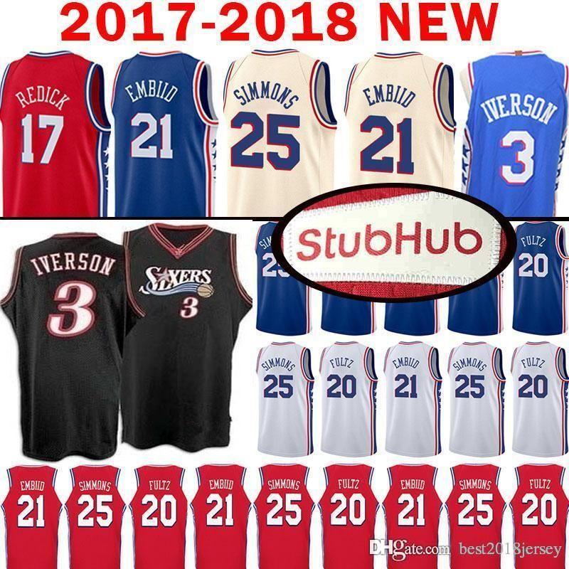 cd87873213e 2018 Top Quality 21 Joel Embiid Philadelphia Jersey 76ers 25 Ben Simmons 20  Markelle Fultz 3 Allen Iverson 17 J.J. Redick Mesh Retro Jerseys From ...
