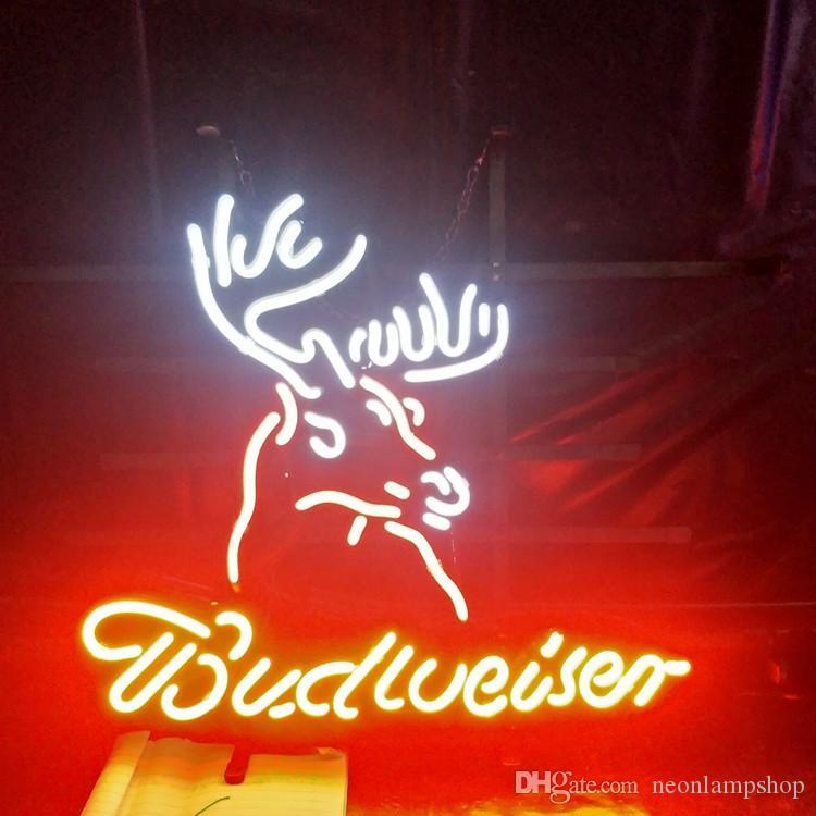 Deer & Budweiser Neon Beer Sign Lamp Design Real Advertising Bar Home  Decoration Art Gift Display Neon Light Metal Frame 17 24 30 40