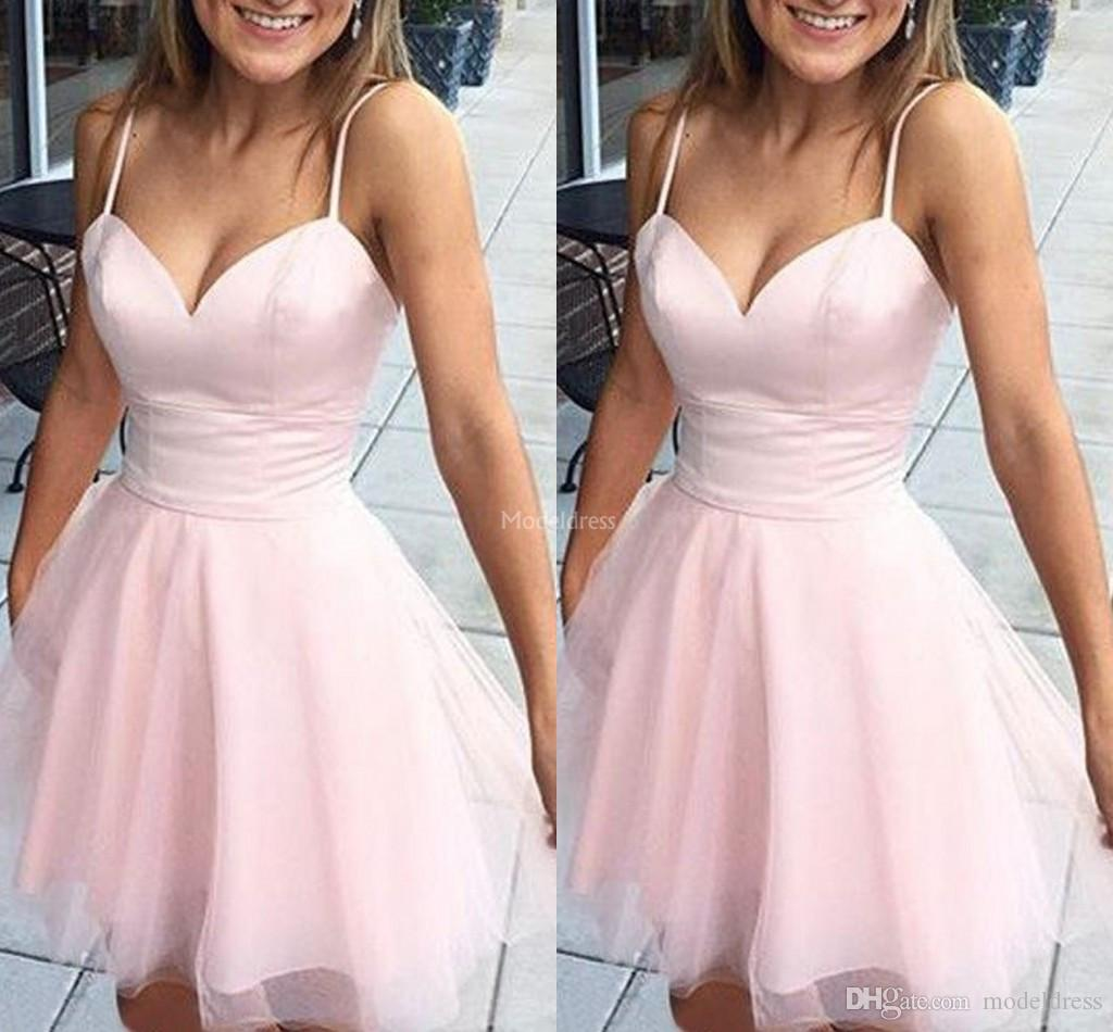 Simple Pink Homecoming Dresses 2019 Spaghetti A Line Short Prom Dress Simple Special Occasion Dresses Cheap Cocktail Gown Vestidos De Fiesta