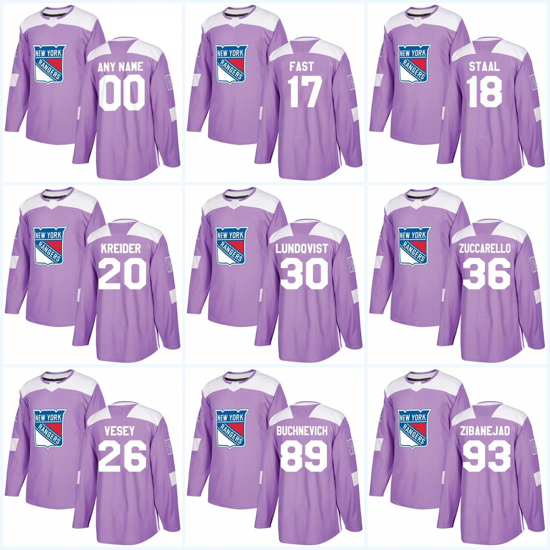 a6121f4ac 30 Henrik Lundqvist New York Rangers Jersey Purple Fights Cancer Practice  36 Mats Zuccarello 20 Chris Kreider 76 Brady Skjei Hockey Jerseys UK 2019  From ...