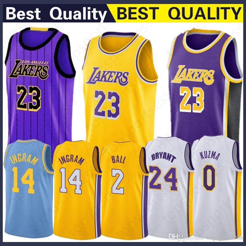 best website dcc0d ca730 Best Sale 23 LeBron James Los 2019 Angeles James Jersey New 2 Lonzo # Ball  0 Kyle # Kuzma 14 Brandon # Ingram Jerseys