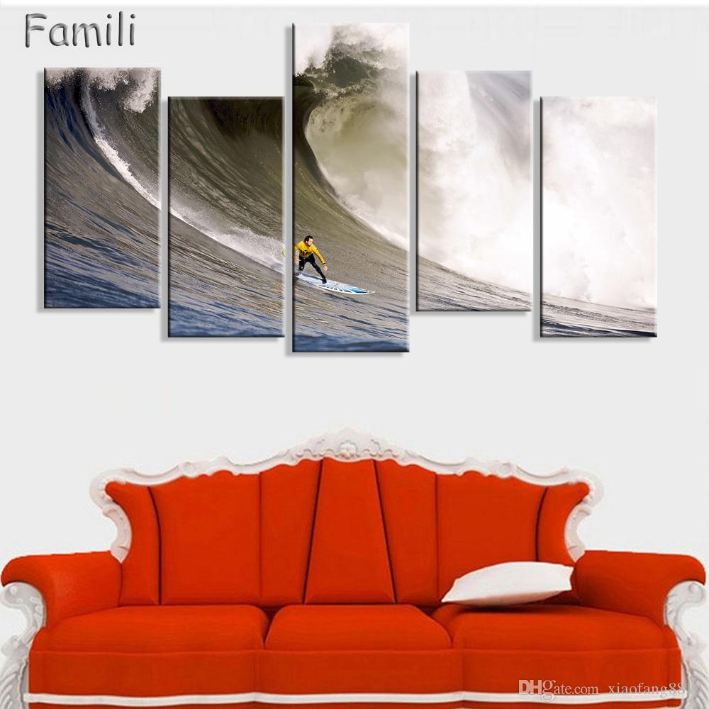5 Pieces Set Art Modern Sea Green Blue Beach Wave Picture Decoration Canvas Painting Wall Picture For Living Room Home Decor Unframed