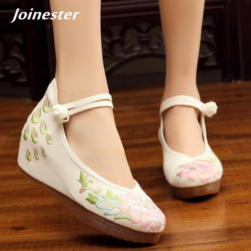 Round Toe High Heel Women Shoe Ankle Strap Women Pumps Ethnic Embroidery  Ladies Heels Elegant Platform For Women Wedges Mens Sneakers High Heels  From Deal44 ... b385cf632d89