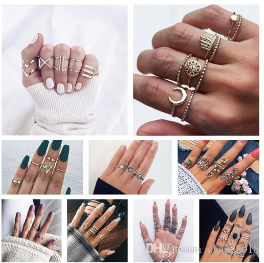 10 styles Punk Crown Water Drops Lotus Leaves Wave Gems Crystal Hollow Silver Ring Set Female Party Birthday Fashion Jewelry ALXY02