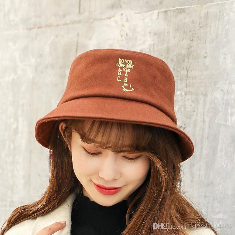 9749f289a3e Autumn And Winter 2018 Warm Thicken Wool And Cotton Letter Bucket Hat  Fisherman Hat Outdoor Travel Hat Sun Cap Hats For Men And Women 504 Wedding  Hats Baby ...