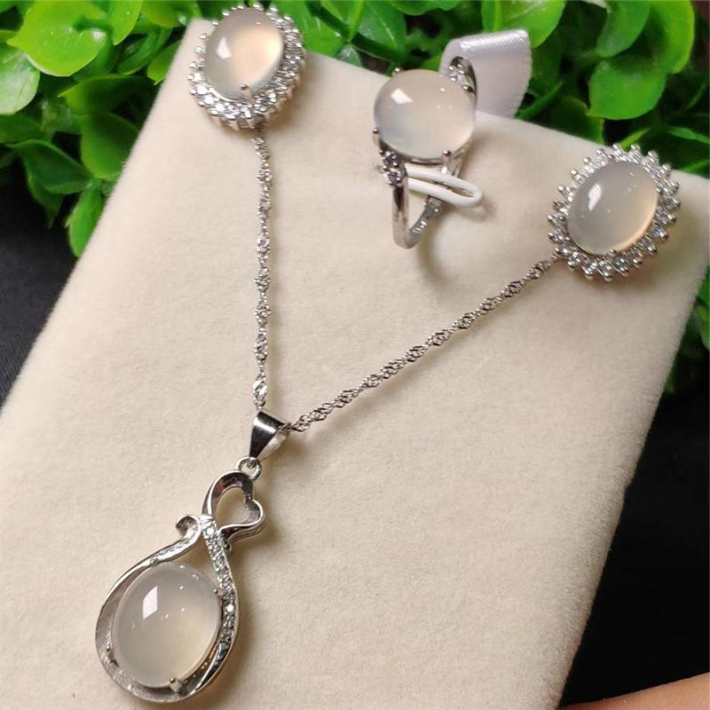 3pcs 925 Sterling Silver Natural White Jade Gemstone Pendant Necklace Bracelet Earrings Women Jewelry Set