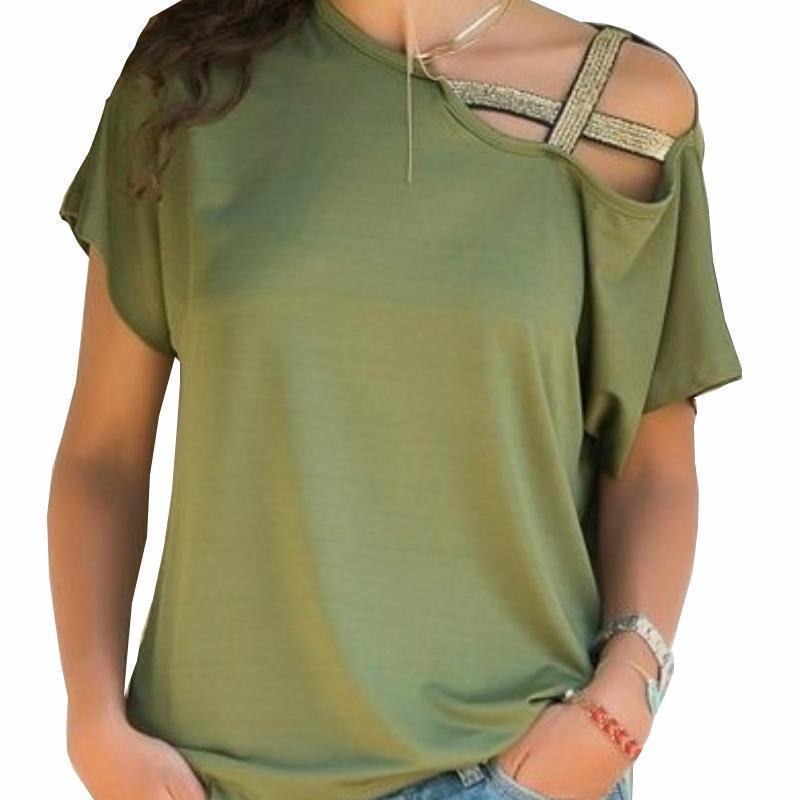 7eb5a044cec8 2XL Summer Women Shirts Casul Irregular Sexy Off Shoulder Tops New Fashion  Short Sleeve T Shirts Feminina Plus Size 2XL This T Shirt T Shirts Best From  ...