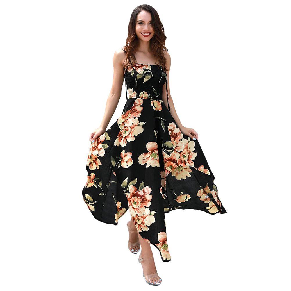 de2f466625323 2019 Long Maxi Beach Summer Dress Sexy Women Sleeveless Spaghetti Strap  Dress Floral Print Irregular Strappy Boho Holiday Dress
