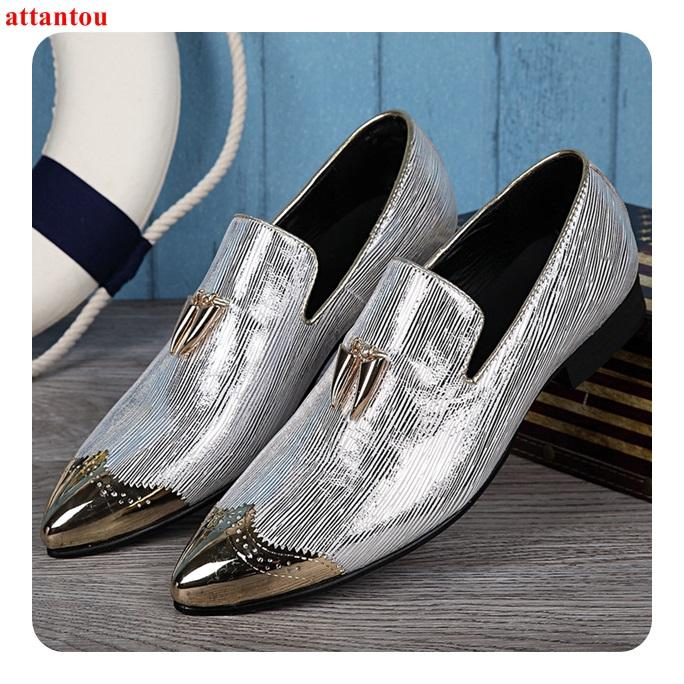Hot Sale Metal Pointed Toe Men Dress Shoes Silver Leather Shoes