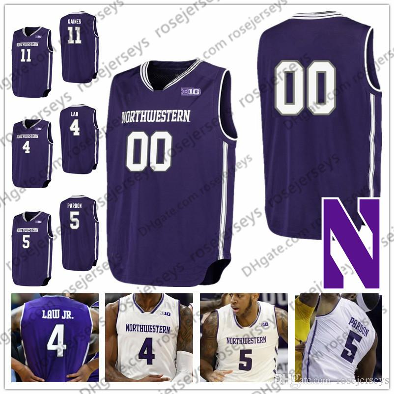 Custom Northwestern College Basketball Purple White Any Name Number 4 Vic Law Jr. 5 Dererk Pardon 14 Ryan Taylor 21 AJ Turner Jersey