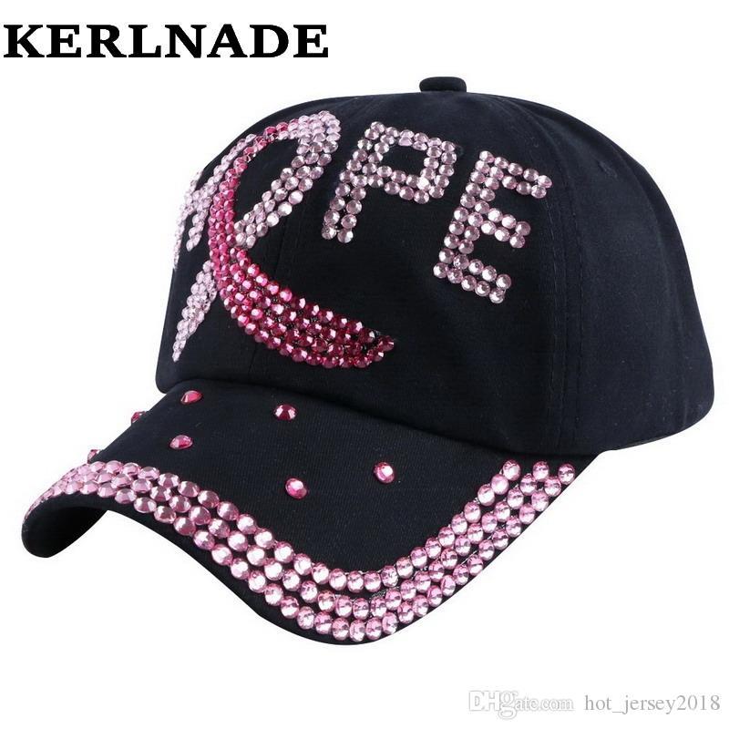 21e55f80d50 2016 New Trendy Custom Design Brand Women Baseball Cap Fuchsia Pink  Rhinestone HOPE Letter Hip Hop Girl Snapback Hat Casquette  319643 Spring    Fall ...