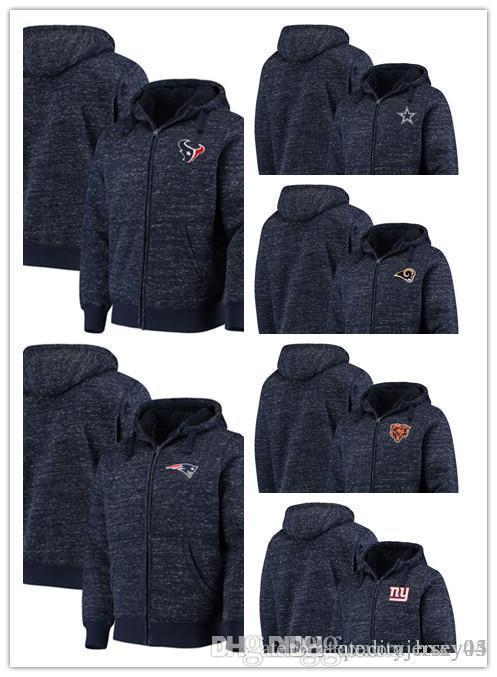 Men's Bears Cowboys Texans Rams Patriots Giants G-III Sports by Carl Banks Discovery Sherpa Full-Zip Jacket Heathered Navy