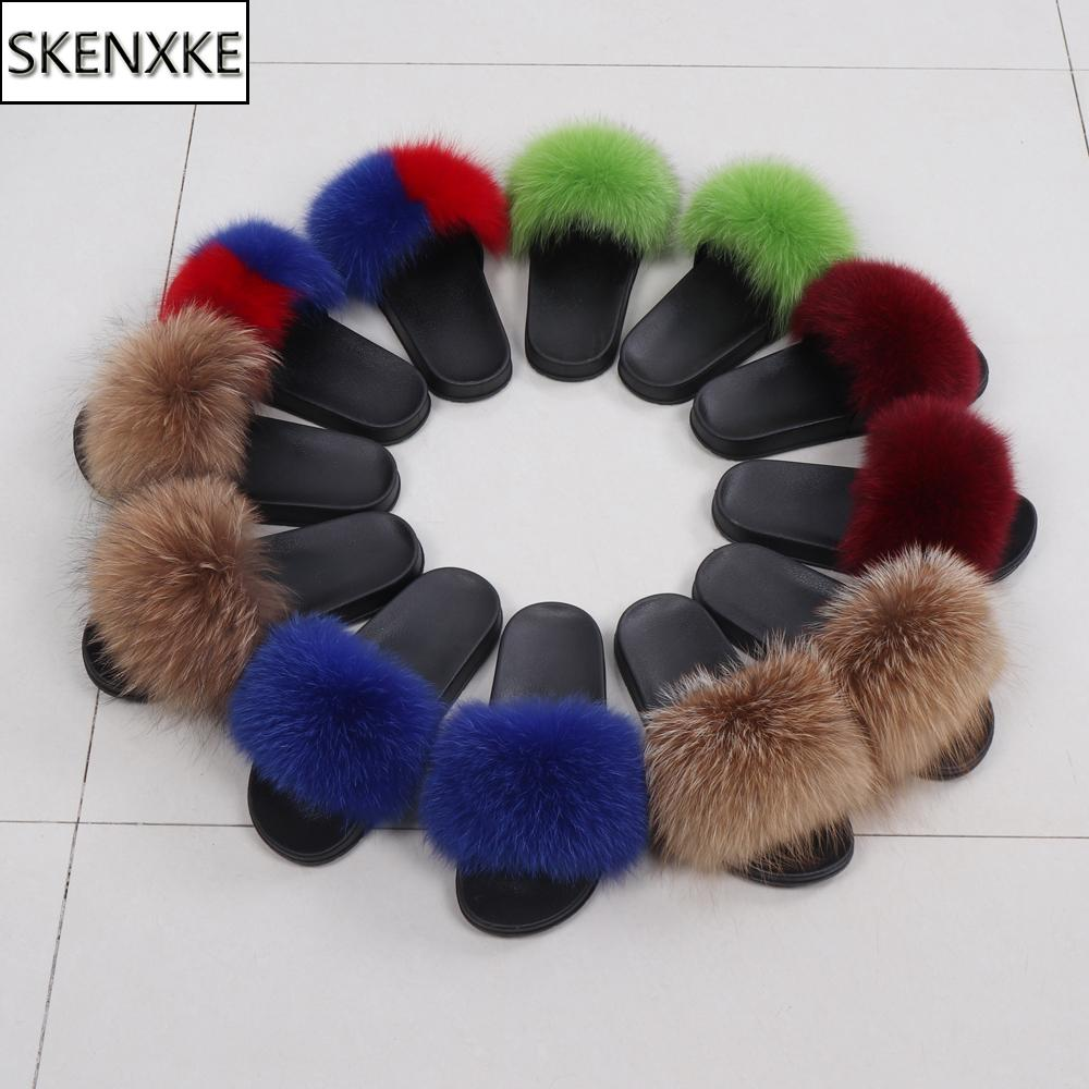 New Lady Real Fur Slippers Women Real Fox Fur Slides Home Furry Flat Sandals Female Cute Fluffy House Shoes Woman Brand Luxury