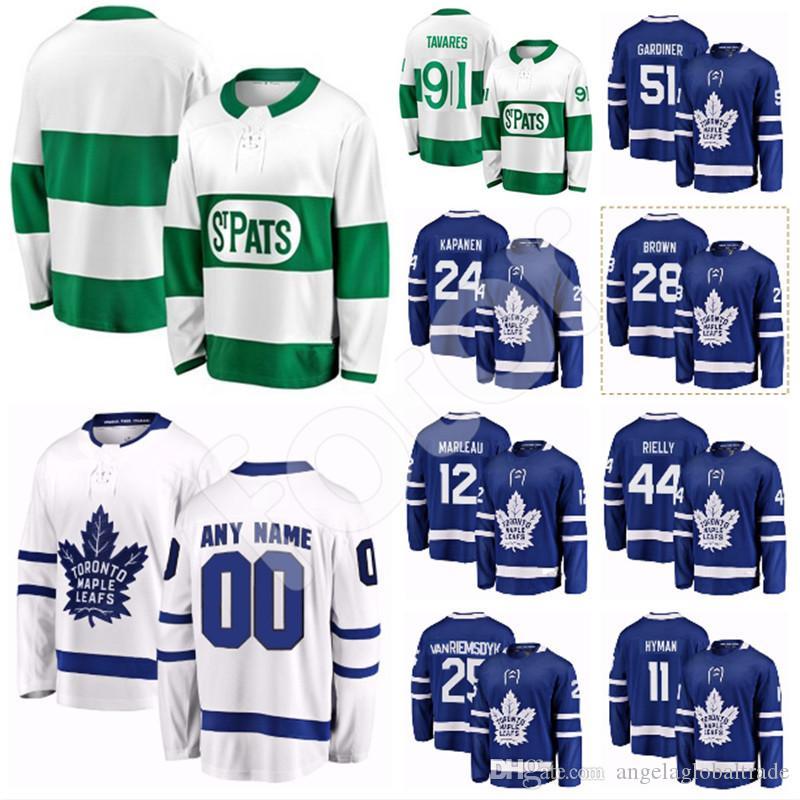 buy popular 1ace4 2dcfb Custom Toronto Maple Leafs Hockey Jersey 25 James van Riemsdyk 17 WENDELL  CLARK Jake Gardiner Patrick Marleau 11 Hyman 2 Hainsey 24 Kapanen