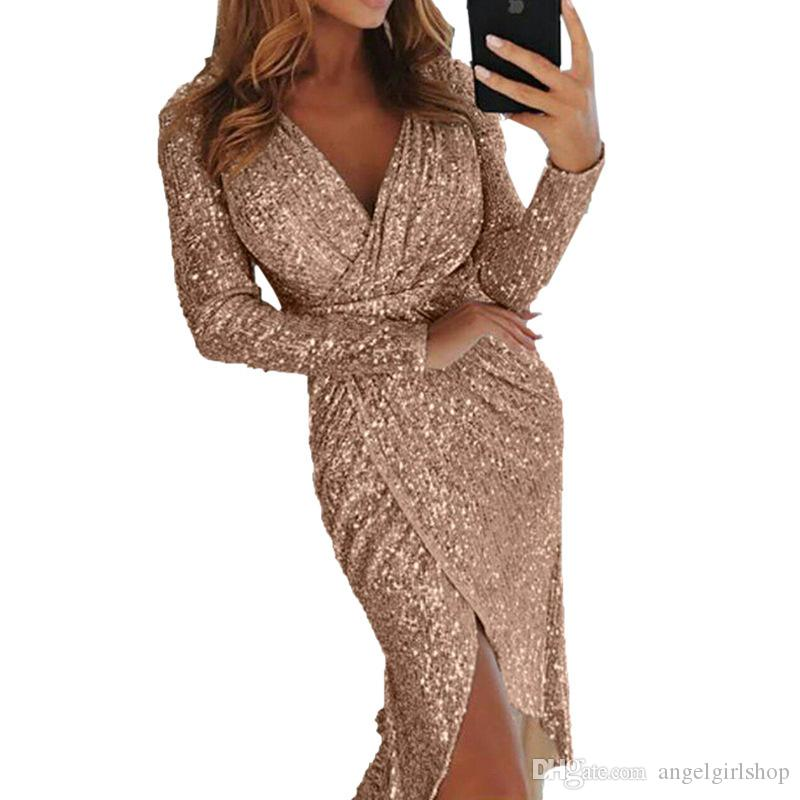 2019 New Sequined Lace Mermaid Cheap Prom Dresses Long sleeves Deep V neck front split Formal Party special occasion dresses