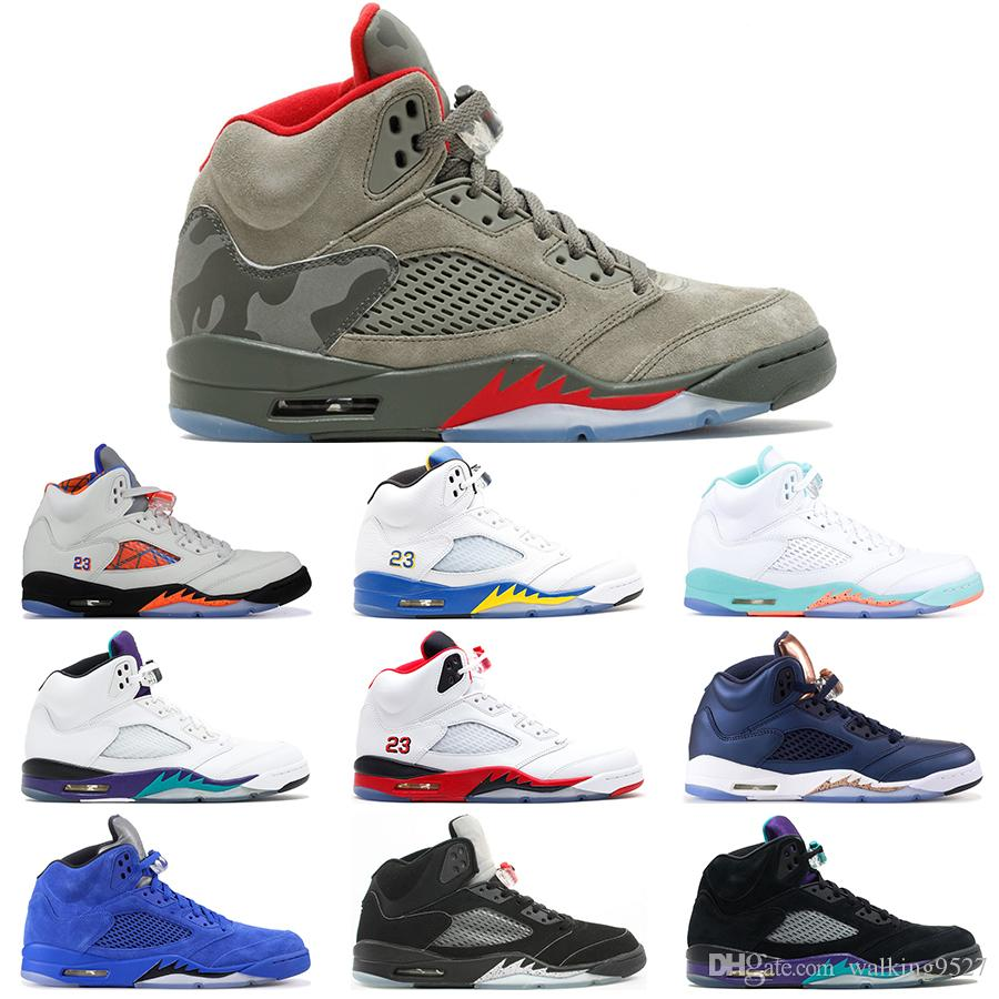 d91c3338c4677a 2019 5s Men Basketball Shoes Camo Motosports Blue Alternate 89 Pure Money  White Cement Royalty Bred Fire Red Black Cat Oreo Sneakers 41 47 From  Walking9527