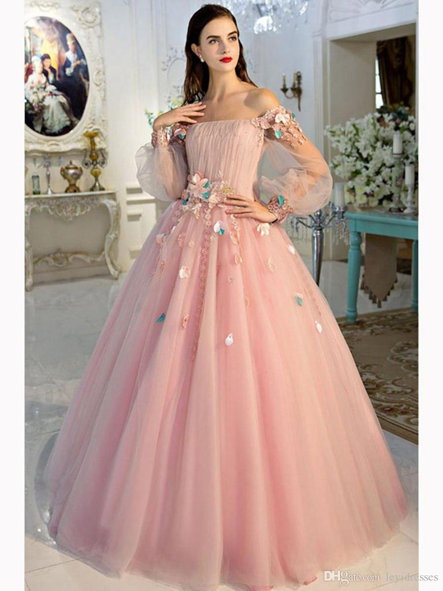 193ce1135710 Gorgeous Bateau Ball Gown Evening Dress Elegant Beaded Hand Made Flower  Long Sleeves Beautiful Dresses Backless Sexy Evening Formal Gowns Turquoise  Evening ...