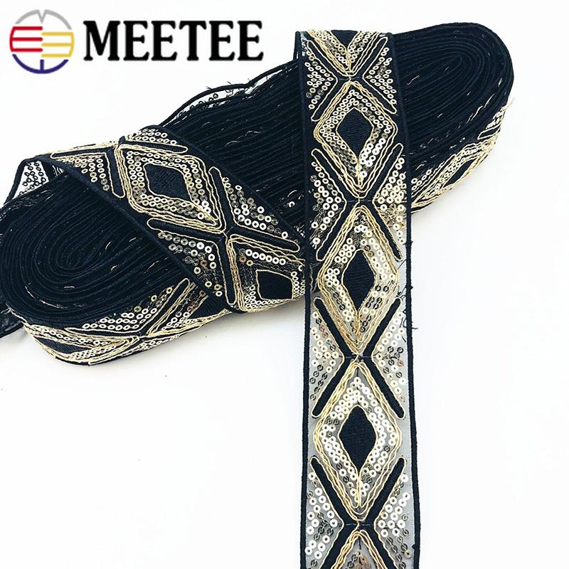 Ethnic Gold Thread Mesh Sequins Webbing Ribbons Tape Shoes Dress Decorative  Embroidered Lace Trims DIY Sewing Accessories
