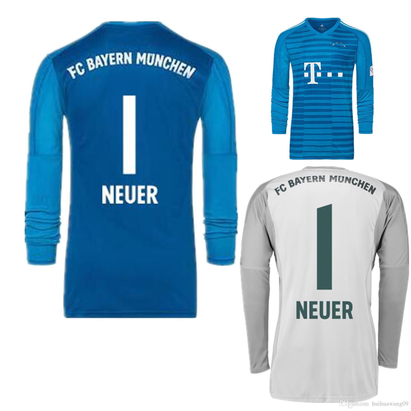 2019 2018 2019 Long Sleeve Away Blue NEUER Goalkeeper Jersey Soccer Jerseys   1 Manuel Neuer 26 Ulreich Goalie GK Kit 18 19 Grey Football Shirts From ... c16d01a12