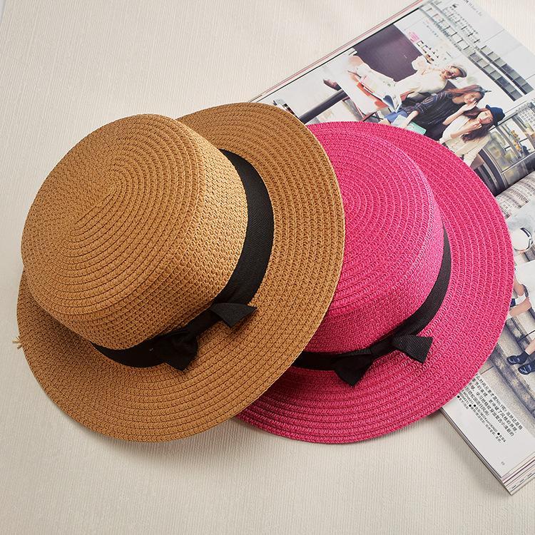 e003298f3c77c Fashion Parent Child Sun Hat Cute Children Sun Hats Bow Hand Made Women  Straw Cap Beach Big Brim Hat Casual Glris Summer Cap Canada 2019 From  Tonic
