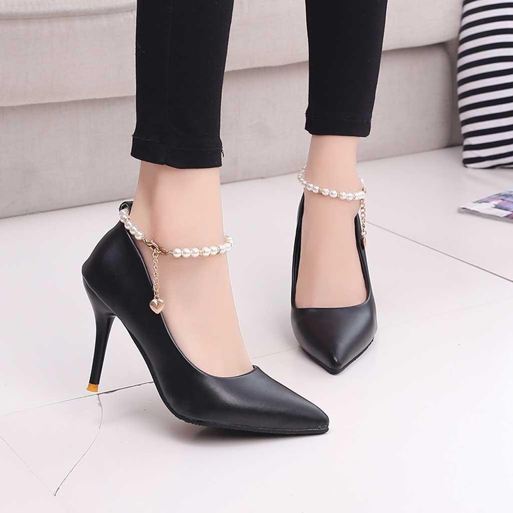 Shoes Youyedian Women High Heels Buckle Sandals Party Tip Thin Mouth Beaded  Single Shoe Schoenen Vrouwen Hakken e5 Wholesale Shoes Black Shoes From  Deal0 9537437d3c28