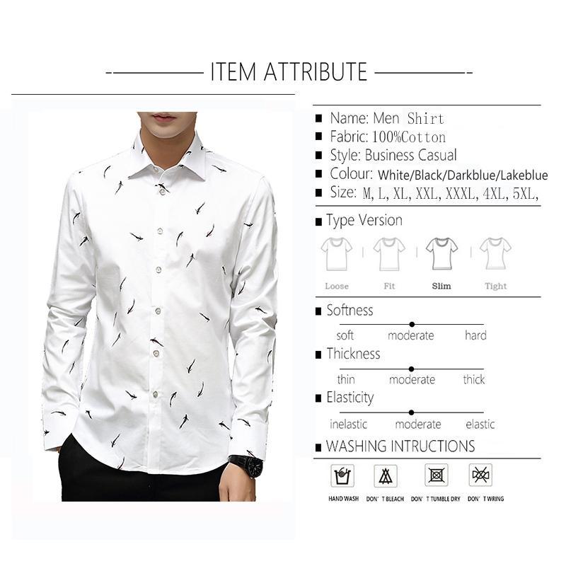 BROWON Marke Luxus Männer Hemd Langarm Umlegekragen Fisch Druck Party Shirt Große Größe 5XL Männer Kleidung 2019