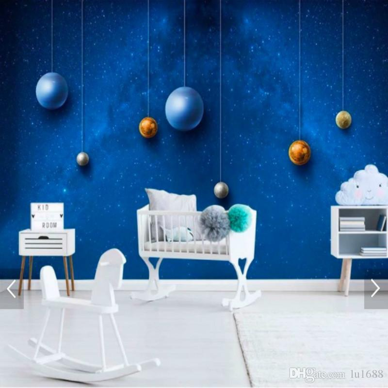 Space Universe Childrenu0027S Room Background Wall Painting Mural Wallpaper For Kids  Room Wall Papers Home Decor Wallpaper For Living Room Hd Wallpapers Hd ...